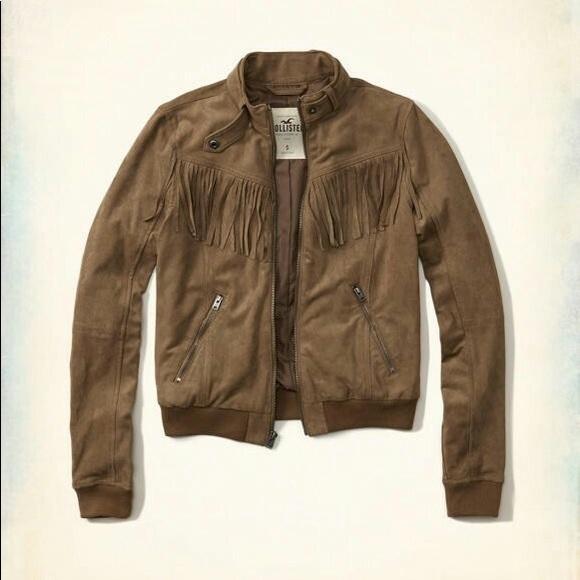 8086f2ad4 Hollister Tan Faux Suede Fringe Moto Bomber Jacket